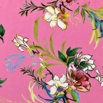 Viszkóz selyem – Színes akvarell virágos mintával
