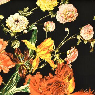 Szatén selyem – Nagyméretű színes kerti virág mintával