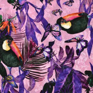 Viszkóz selyem – Színes tukán és pillangó mintával