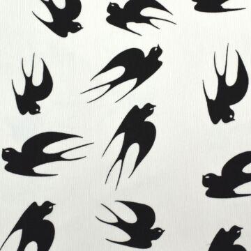 Selyem – Fehér alapon fekete fecske mintával