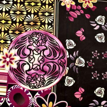 Selyem – Absztrakt virág mintával