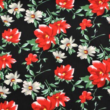 Selyem – Piros és fehér virág mintával