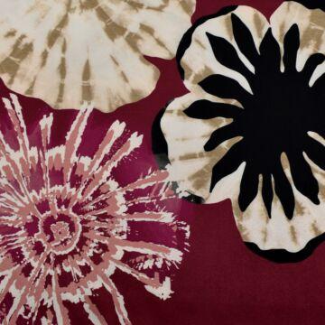 Selyemszatén – Bordó alapon nagy absztrakt virág mintával