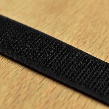Varrható tépőzár – Fekete színben, horgos, 2cm
