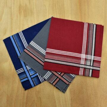 Textil zsebkendő – Kék, piros és szürke, 3db-os, nagy méretű