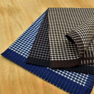 Textil zsebkendő – Kis kockás mintával, 3db-os, nagy méretű