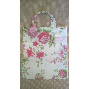 Vászontáska – Fehér alapon rózsaszín virág mintával