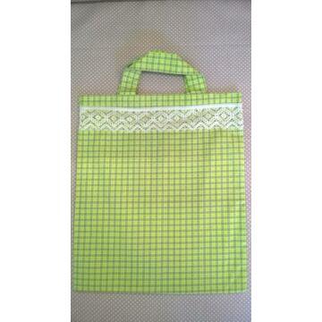 Vászontáska – Zöld és szürke kockás mintával