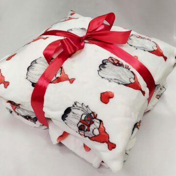 Díszpárna és takaró – Karácsonyi manó mintájú wellsoft anyagból