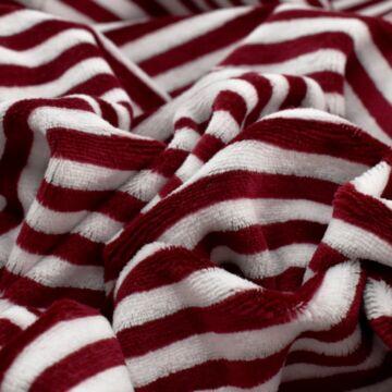 Bébiplüss – Bordó-fehér csíkos mintával