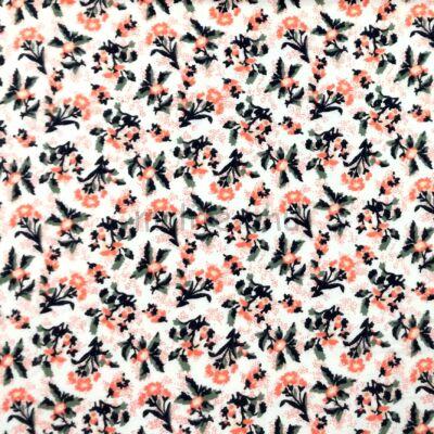 Flanel – Korall színű kis virágos mintával