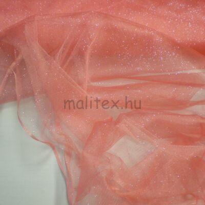 Mesh Tüll – Lazac rózsaszín színben, csillogó