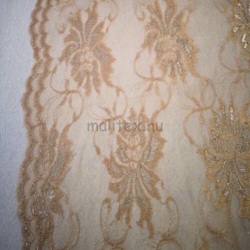 Elasztikus csipke – Arany színben, nagyméretű virág mintával, bordűrrel