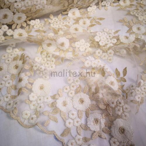 Pamut csipke – Arany és fehér színű virágos mintával, bordűrös