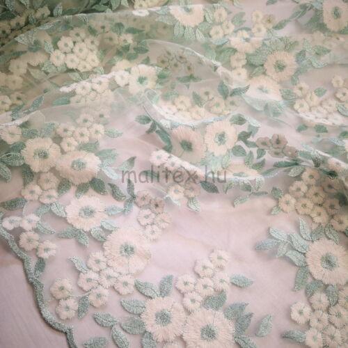 Pamut csipke – Menta és fehér színű virágos mintával, bordűrös