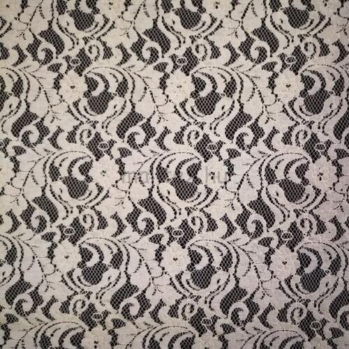 Elasztikus csipke – Törtfehér színű, indázó levél mintával