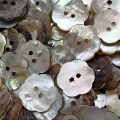 Kagyló gomb – Virág alakú, gyöngyház színű