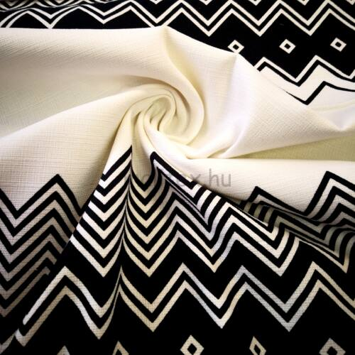 Elasztikus vászon – Fehér alapon fekete cikkcakk mintával