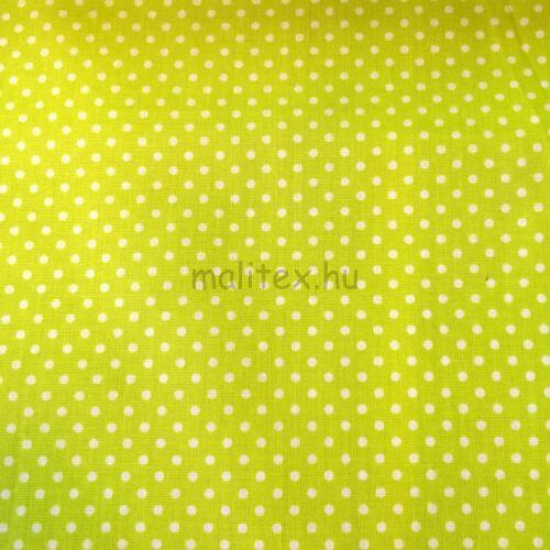 bb4f73e2c3 Pamutvászon – Kivi zöld, fehér 2mm pöttyös mintával - Mintás pamutvászon