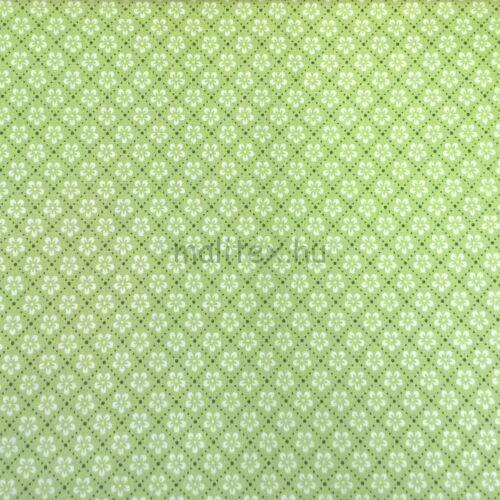 e080312a2c Pamutvászon – Fehér virág mintával, zöld színben