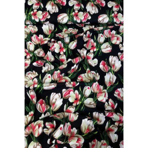 704674c55d Viszkóz selyem – Tulipán mintával, fekete alapon