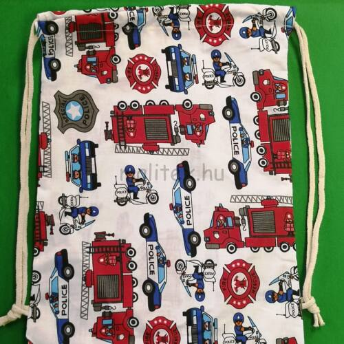 Összehúzható ovis hátizsák – Tűzoltós és rendőrös mintával