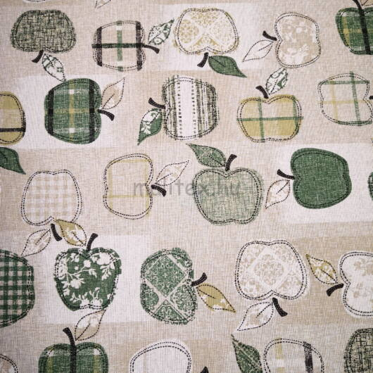 Bútorvászon – Textil alma mintával, zöld árnyalatban, LONETA