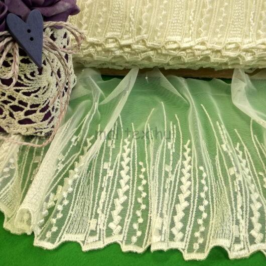 Csipke szalag – Fehér színű hímzett tüll csipke