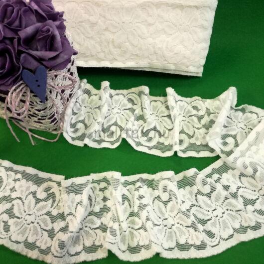 Csipke szalag – Fehér színű elasztikus műszálcsipke nagy virág mintával
