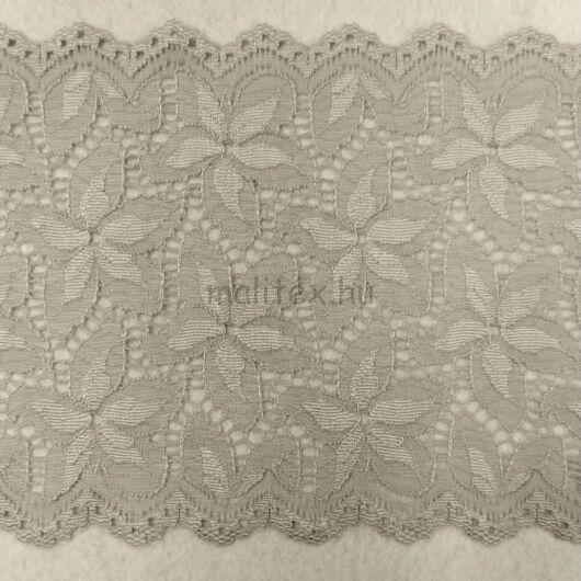Csipke szalag – Elasztikus csipke,keki szürke színben, virág mintával, 16.5cm (kr180903)