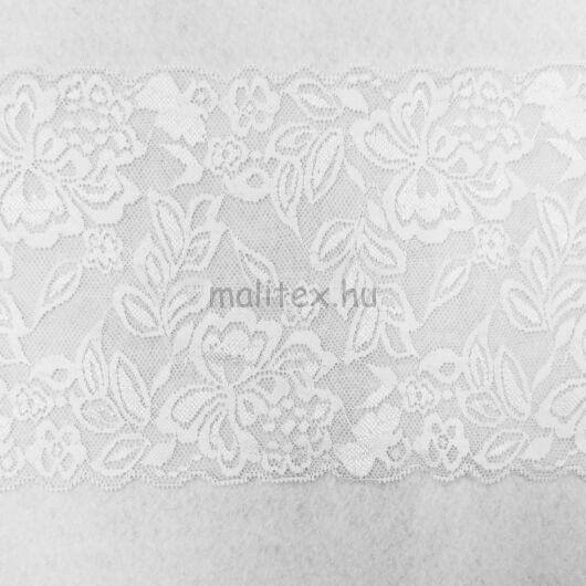 Csipke szalag – Elasztikus csipke,fehér színben, virágos mintával, 15cm