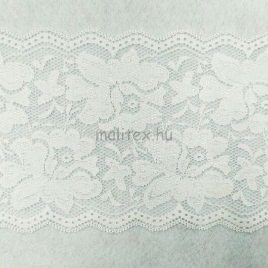 Csipke szalag – Elasztikus csipke,tört fehér színben, rózsa mintával, 14cm