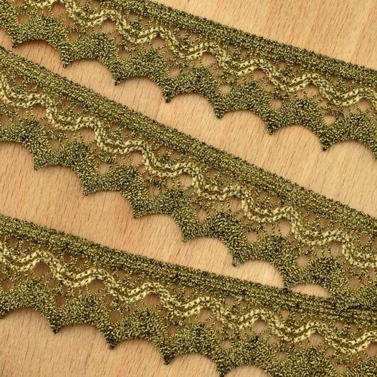 Csipke szalag – Fényes antik arany színű, cakkos csipke, 2,8cm
