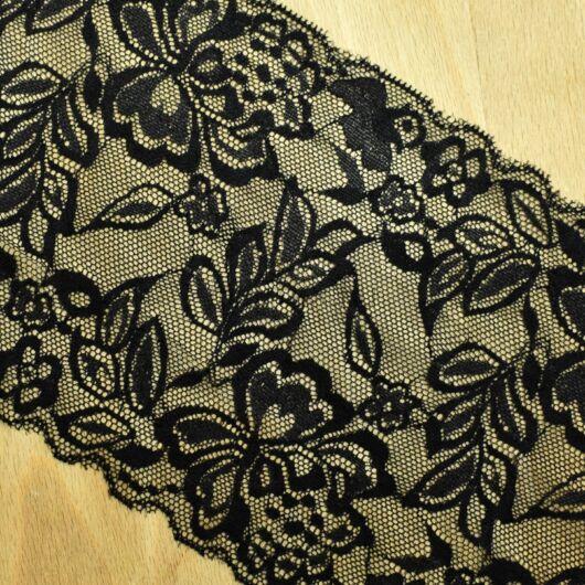 Csipke szalag – Elasztikus csipke fekete színben, 15cm
