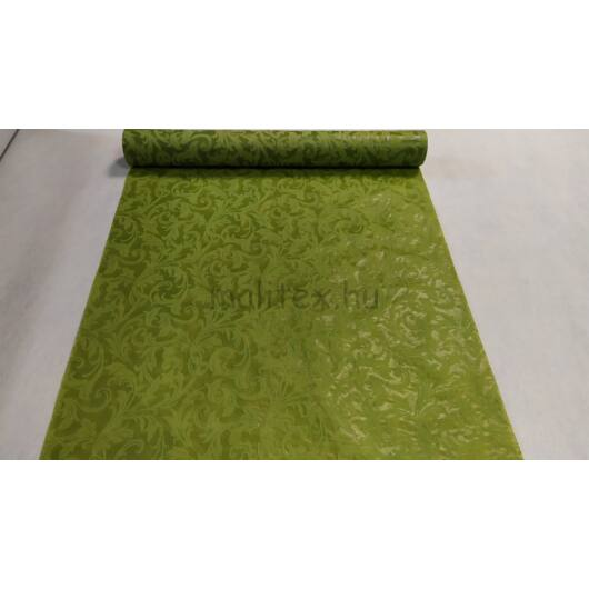 Extra széles dekor szalag – Zöld színben, indázó mintával - 55cm