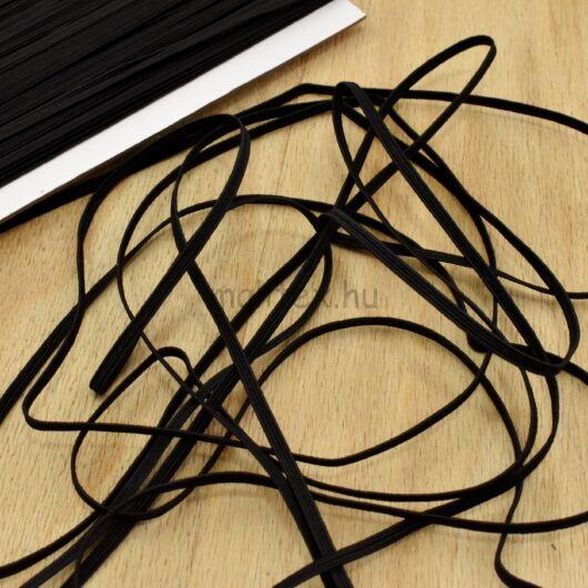 Gumiszalag – Bordázott gumi fekete színben, 3mm