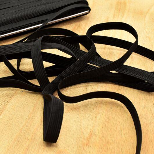 Gumiszalag – Bordázott gumi fekete színben, 12mm