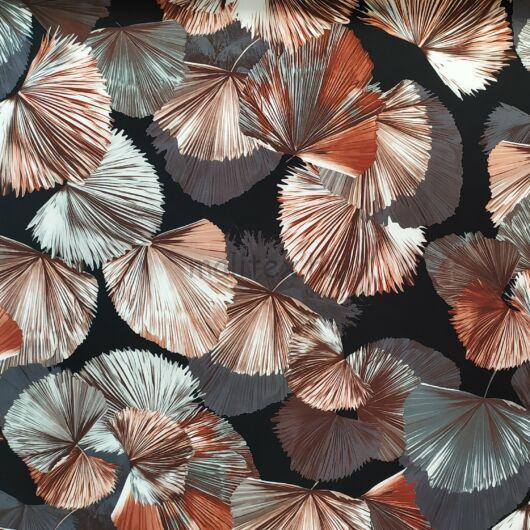 Barbi Crepe – Fekete alapon, színes legyezős levél mintával
