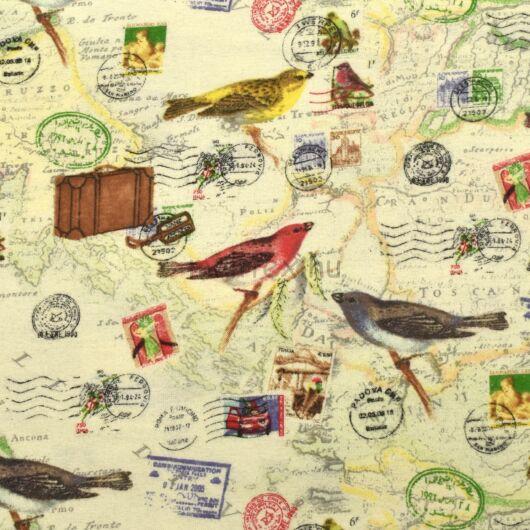 Flanel – Színes madár és térkép mintával