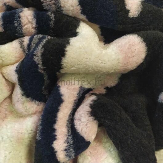 Műszőrme – Fekete, fehér, rózsaszín és kék mintával