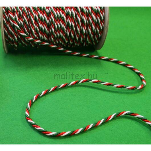 Trikolor zsinór – Magyar nemzeti színű zsinór, 3mm