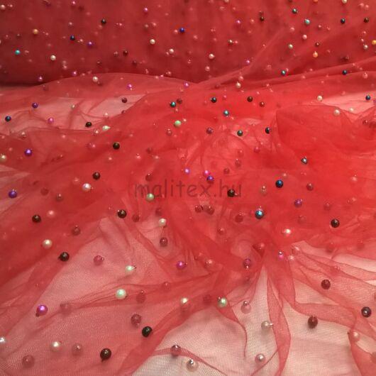 Lágy tüll – Piros színben, gyöngyökkel díszítve