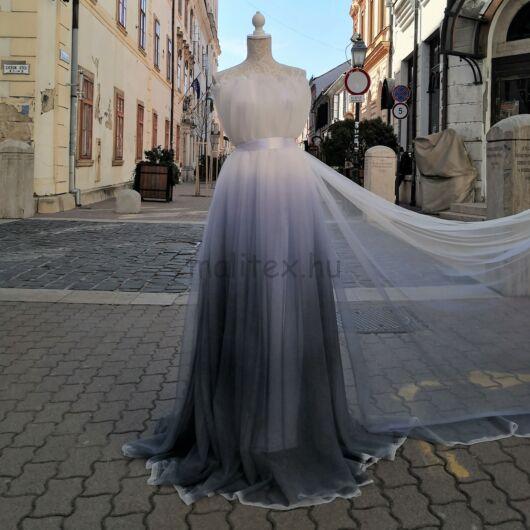 Ombre tüll – Lágy tüll, fehér szürke átmenetes színben
