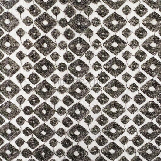 Tüll – Fekete alapon, geometriai gyönggyel hímzett mintával