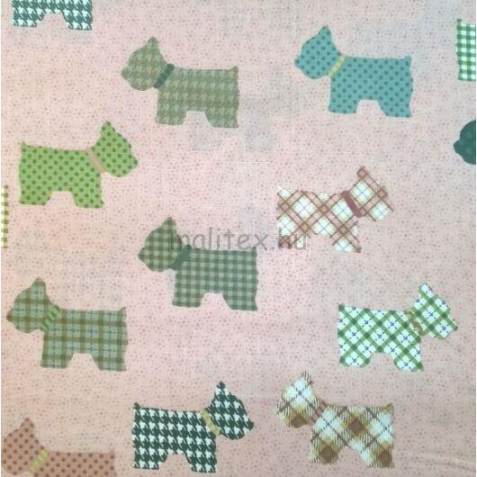 Pamutvászon – Mintás kutyusokkal, rózsaszín alapon