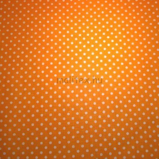 Pamutvászon – Narancssárga, fehér 2mm pöttyös mintával