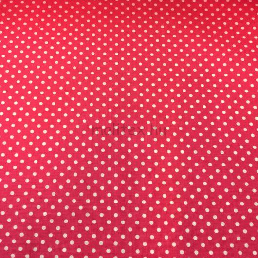 Pamutvászon – Pink, fehér 2mm pöttyös mintával