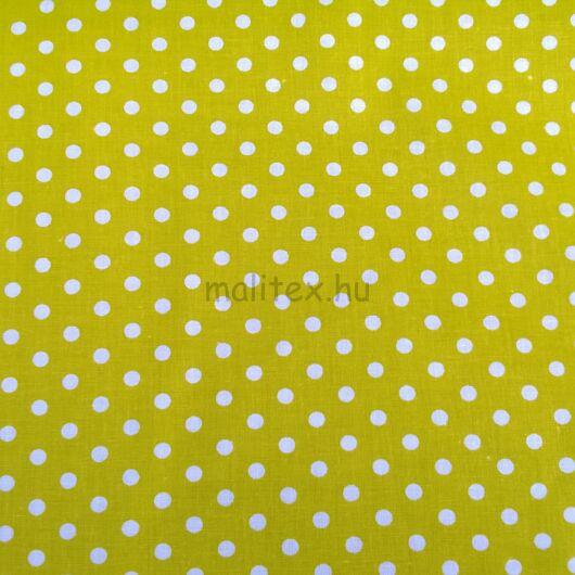 Pamutvászon – Kivizöld, fehér 6mm pöttyös mintával
