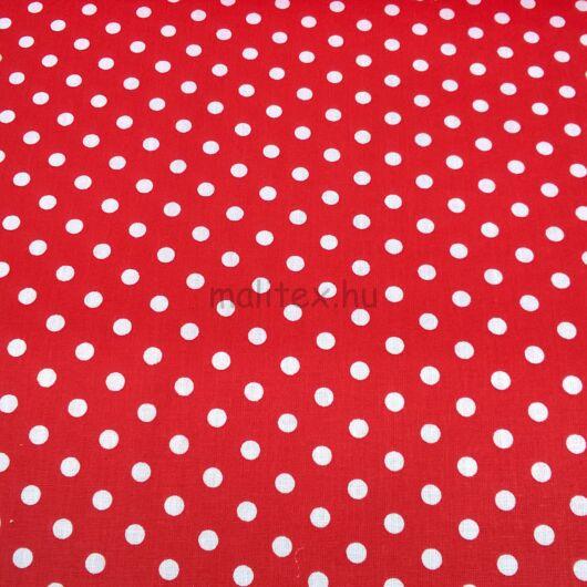 Pamutvászon – Piros, fehér 6mm pöttyös mintával