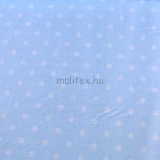Pamutvászon – Babakék, fehér 6mm pöttyös mintával